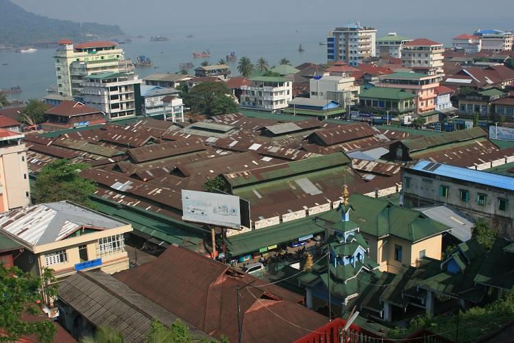 Η αγορά του Myeik από ψηλά
